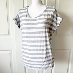 Adidas Grey Striped Short Sleeve Short Size L